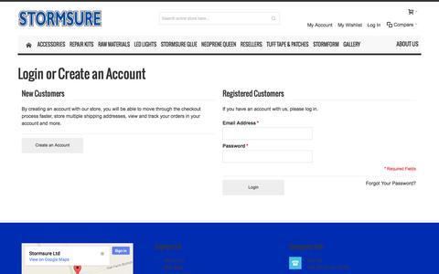 Screenshot of Login Page stormsure.com - Customer Login - captured Nov. 5, 2014