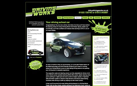 Screenshot of About Page drivingworks.co.uk - Learn to drive in Lincoln in a Driving Works Fiesta - captured Oct. 27, 2014