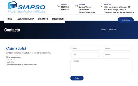 Screenshot of Contact Page siapso.com - Contacto - captured July 18, 2018