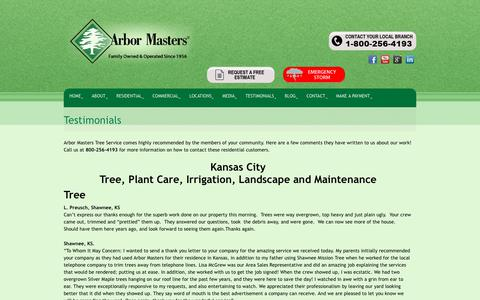 Screenshot of Testimonials Page arbormasters.com - Testimonials - Tree Service, Lawn Care and Landscape Company - captured Dec. 12, 2018