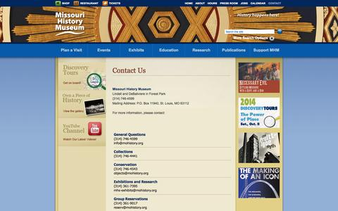 Screenshot of Contact Page mohistory.org - Contact Us | Missouri History Museum - captured Sept. 19, 2014