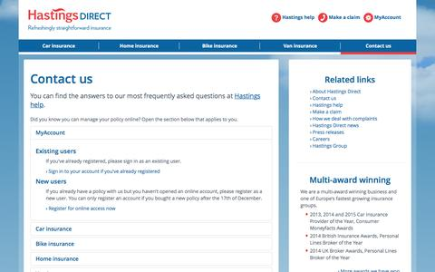 Contact Hastings Direct, Read Our FAQs, Call Us or Use Live Chat