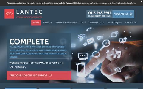 Screenshot of Home Page lantecservicesltd.co.uk - LANTEC Communication Services - business cloud systems in Nottingham - captured July 16, 2018