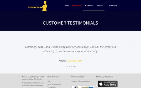 Screenshot of Services Page Menu Page towncarsaust.com.au - Customer Testimonials - Towncars - captured July 5, 2018