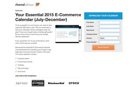 Screenshot of Landing Page channeladvisor.com - Your Essential 2015 E-Commerce Calendar (July-December) | ChannelAdvisor - captured March 15, 2017