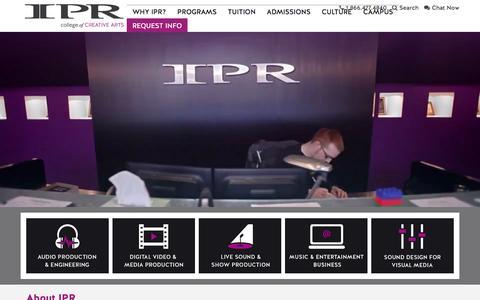 Screenshot of Home Page ipr.edu - IPR | College of Creative Arts - captured Nov. 18, 2016