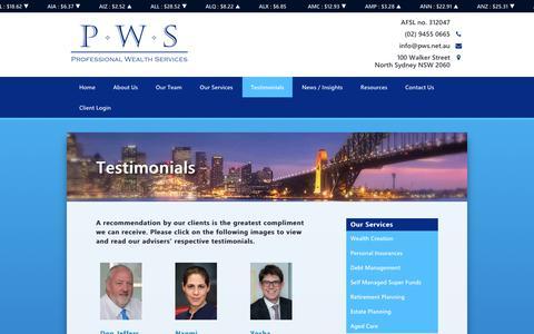 Screenshot of Testimonials Page pws.net.au - Professional Wealth Services - Testimonials - captured Oct. 23, 2018