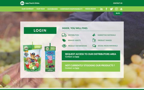 Screenshot of Login Page appyco.com - Distributors area - captured Oct. 8, 2017
