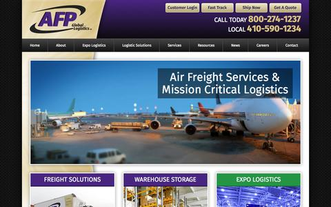 Screenshot of Home Page afplus.com - Global Logistics Service, Domestic & International Shipping - captured Aug. 5, 2015
