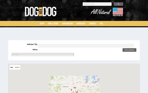 Screenshot of Locations Page dogfordog.com - Top Rated Dry Dog Food Helps Your Pet Stay Active and Healthy - captured Nov. 26, 2015