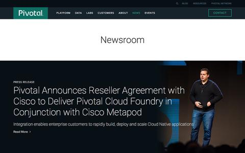 Screenshot of Press Page pivotal.io - Newsroom   Pivotal - captured March 1, 2016