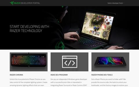 Screenshot of Developers Page razerzone.com - Razer Developer Portal - captured Feb. 15, 2018