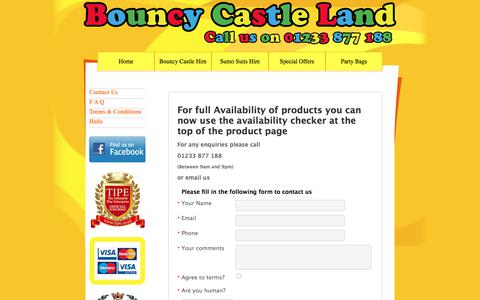 Screenshot of Contact Page bouncy-castle-land.co.uk - Contact Bouncy Castle Land Hire in Ashford, folkestone, dover and Hythe - captured Aug. 3, 2018