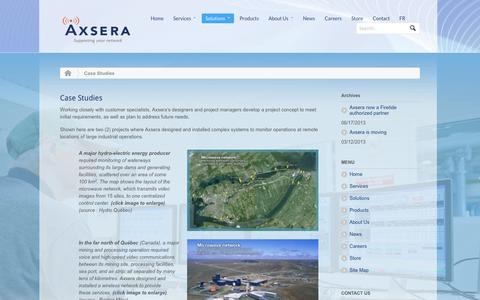 Screenshot of Case Studies Page axsera.com - Case Studies - captured Oct. 1, 2014