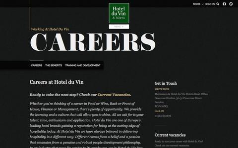 Screenshot of Jobs Page hotelduvin.com - Careers - Hotel du Vin & Bistro - captured Sept. 22, 2014