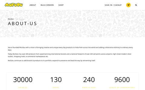 Screenshot of About Page mufubu.com - About Us - captured Jan. 27, 2016