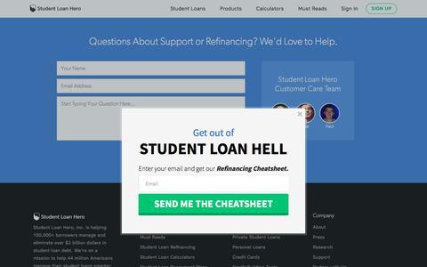 Screenshot of Support Page studentloanhero.com - Student Loan Repayment Help | Student Loan Hero - captured Dec. 20, 2016