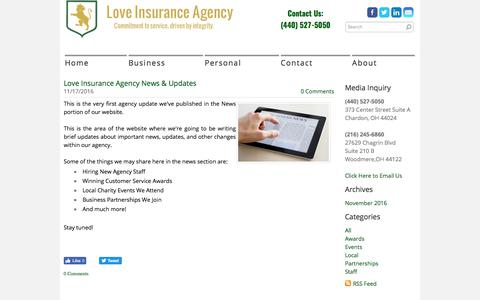 Screenshot of Press Page loveinsurance.com - Love Insurance Agency - News - captured Sept. 11, 2017