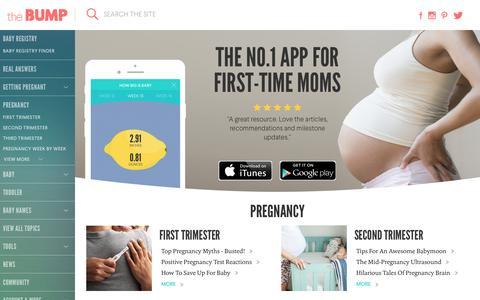 Screenshot of Home Page thebump.com - TheBump.com - Pregnancy, Parenting and Baby Information - captured Aug. 19, 2016