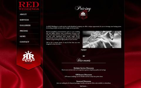Screenshot of Pricing Page redweddings.net - RED Weddings – Luxury Photo Music & Video Services     Pricing - captured Oct. 7, 2014