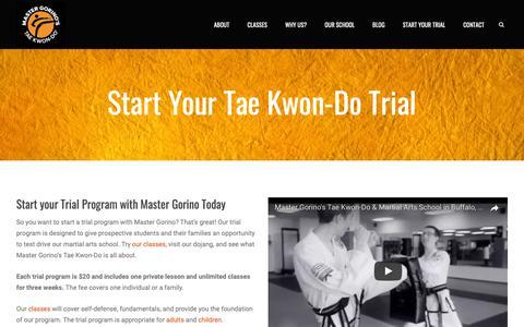 Screenshot of Trial Page gorinotaekwondo.com - Start Your Trial Program Now   Master Gorino's Tae Kwon-Do - captured Oct. 17, 2018