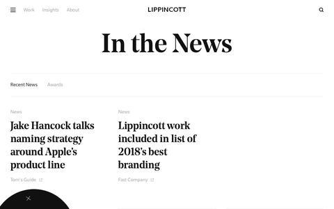 Screenshot of Press Page lippincott.com - News | Lippincott | Brand & Innovation Consultancy - captured June 3, 2019