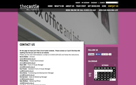 Screenshot of Contact Page thecastle.org.uk - Contact Us | Castle Wellingborough - captured Oct. 7, 2014