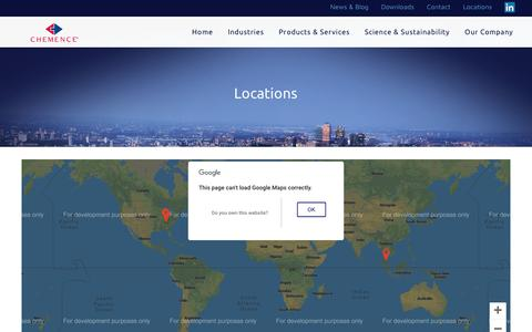 Screenshot of Locations Page chemence.com captured Sept. 27, 2018