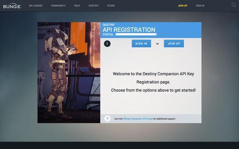 Screenshot of Developers Page bungie.net - Bungie : API Key - captured July 30, 2016