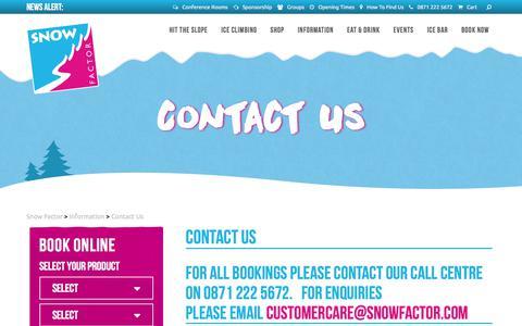 Screenshot of Contact Page snowfactor.com - Contact Us | Snow Factor - captured Nov. 2, 2017
