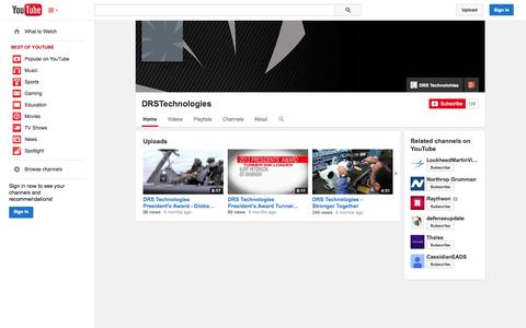 Screenshot of YouTube Page youtube.com - DRSTechnologies  - YouTube - captured Oct. 22, 2014