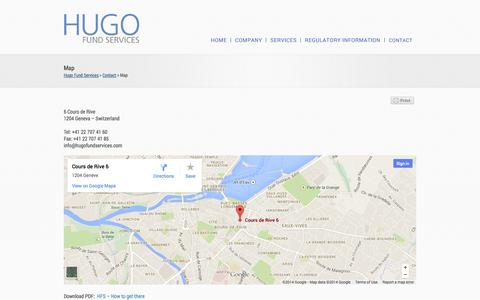 Screenshot of Maps & Directions Page hugofunds.ch - » Map Hugo Fund Services - captured Oct. 4, 2014
