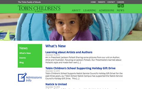 Screenshot of Press Page tobinchildrensschool.org - What's New - Tobin Children's School - captured Dec. 19, 2016