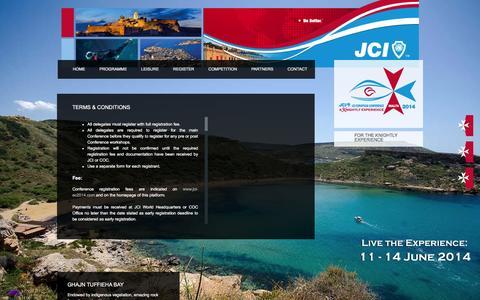 Screenshot of Terms Page jci-ec2014.com - 2014 JCI European Conference   Malta   Terms & Conditions - captured Feb. 16, 2016