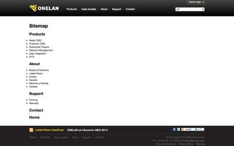 Screenshot of Site Map Page onelan.com - Sitemap | Onelan - captured Sept. 19, 2014
