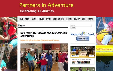 Screenshot of Home Page partnersinadventure.org - Home - Partners In Adventure - captured Dec. 7, 2015