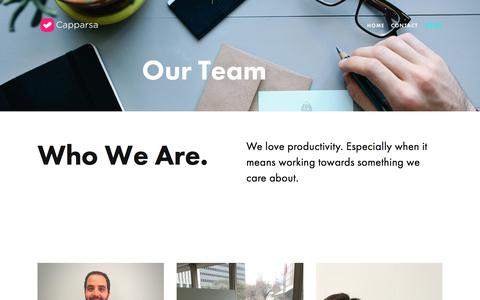 Screenshot of Team Page capparsa.com - Our Team — Capparsa - Achieve Your Goals - captured July 15, 2018
