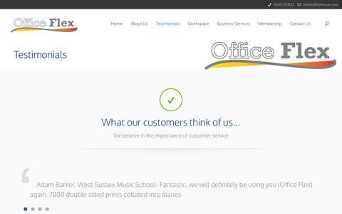 Screenshot of Testimonials Page officeflexuk.com - Testimonials | Office Flex | Business, Office and Printing services in Chichester, West Sussex - captured Nov. 3, 2014