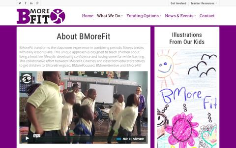 Screenshot of About Page bmorefit.org - What We Do - BMoreFit | 501(c)(3) nonprofit organization based in Baltimore, MD - captured Dec. 28, 2015
