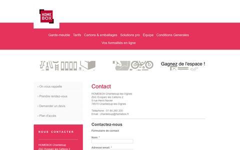 Screenshot of Contact Page homebox-chanteloup.fr - Contact - HOMEBOX Chanteloup - captured Oct. 1, 2014