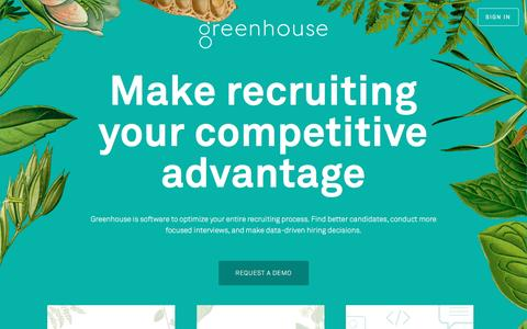 Screenshot of Home Page greenhouse.io - Recruiting Software - Applicant Tracking System | Greenhouse Software - captured April 8, 2016