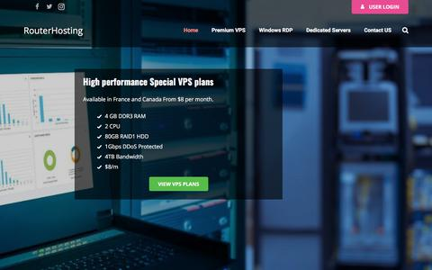 Screenshot of Home Page routerhosting.com - Instant Linux and Windows VPS Server for $4.95/m - FREE Windows - captured June 24, 2017