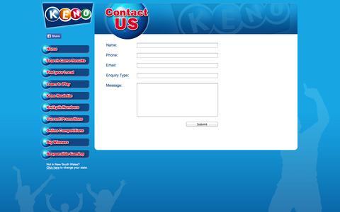 Screenshot of Contact Page playkeno.com.au - Play Keno - Contact Us - captured Nov. 4, 2014