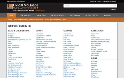 Screenshot of Site Map Page long-mcquade.com - Guitars, Acoustic Guitars, Electric Guitars, Guitar Cases & Cables - captured June 25, 2016