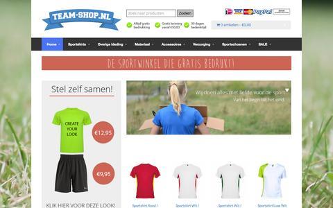 Screenshot of Home Page team-shop.nl - Team-Shop.nl - De sportwinkel die gratis bedrukt! - captured Oct. 6, 2014