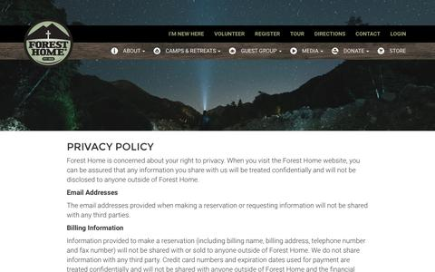 Screenshot of Privacy Page foresthome.org - Forest Home Christian Camps - Privacy Policy - captured Sept. 30, 2016