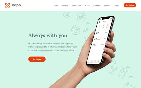 Screenshot of Home Page xapo.com - Always with you - Xapo - captured April 10, 2019