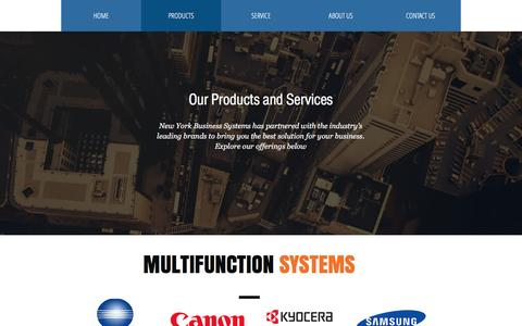 Screenshot of Products Page nybs.com - New York Business Systems | PRODUCTS - captured Sept. 28, 2016