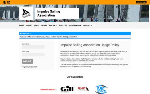 Screenshot of Login Page revolutionise.com.au - Log In - Impulse Sailing Association - revolutioniseSPORT - captured Oct. 26, 2018