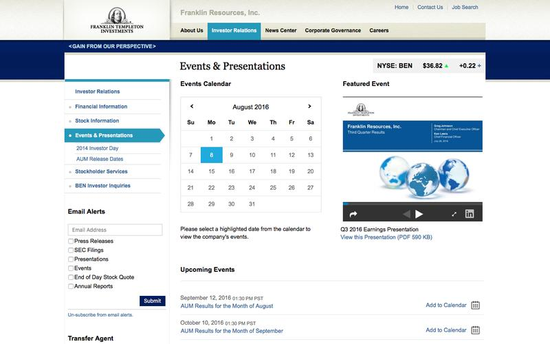 Franklin Resources Inc - Investor Relations - Events & Presentations